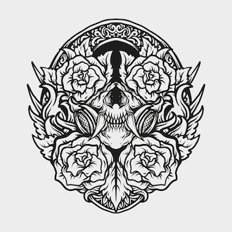 Conception de tatouage et de t-shirt masque de crâne dessiné à la main noir et blanc et ornement de gravure de rose
