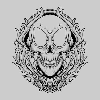 Conception de tatouage et de t-shirt ornement de gravure de crâne extraterrestre dessiné à la main en noir et blanc