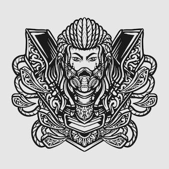 Conception de tatouage et de t-shirt ornement de gravure de cyborg dessiné à la main en noir et blanc