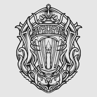 Conception de tatouage et de t-shirt ornement de gravure de lanterne dessinée à la main en noir et blanc