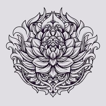 Conception de tatouage et de t-shirt ornement de gravure de lotus
