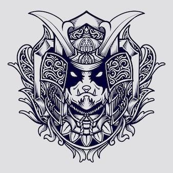 Conception de tatouage et de t-shirt ornement de gravure de panda samouraï dessiné à la main noir et blanc