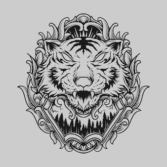 Conception de tatouage et de t-shirt ornement de gravure de tigre dessiné à la main en noir et blanc