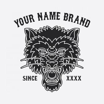 Conception de tatouage tête de loup