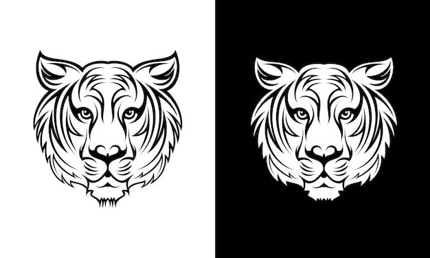Conception de tatouage tigre dessiné à la main