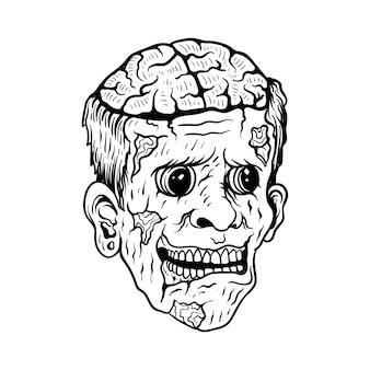 Conception de tatouage zombie noir et blanc