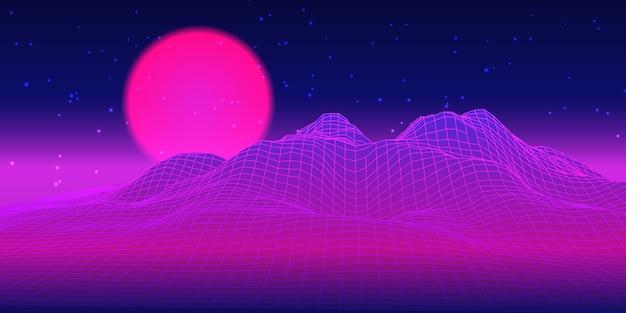 Conception techno de paysage futuriste rétro