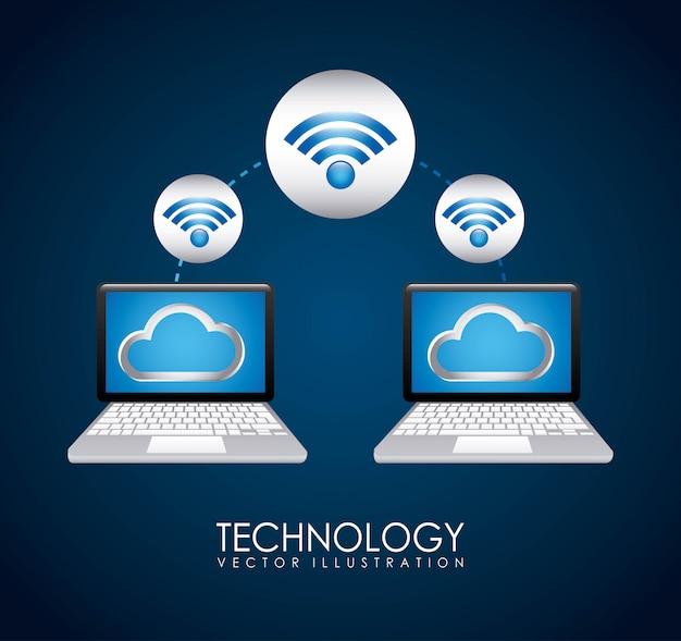 Conception de la technologie au cours de l'illustration vectorielle fond bleu