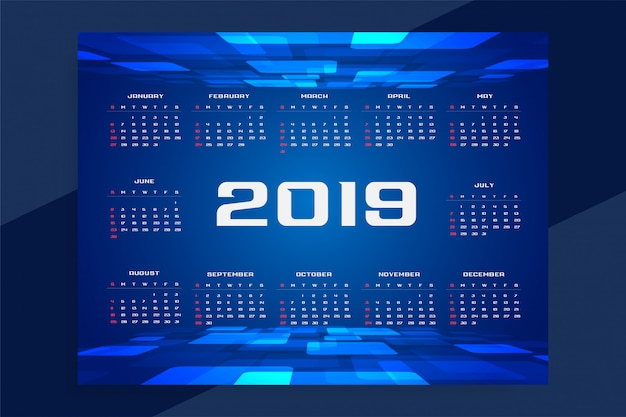 Conception de la technologie du calendrier 2019
