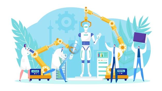 Conception de la technologie robotique par l'équipe de personnes.