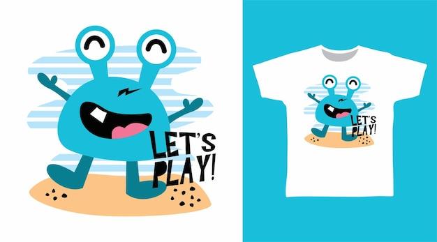 Conception de tee-shirt de crabe mignon