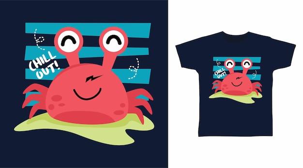 Conception de tee-shirt de détente de crabe mignon