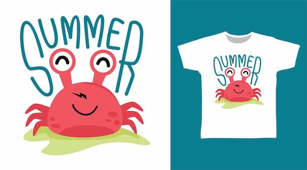 Conception de tee-shirt d'été de crabe mignon