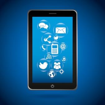 Conception de téléphone intelligent au cours de l'illustration vectorielle fond bleu