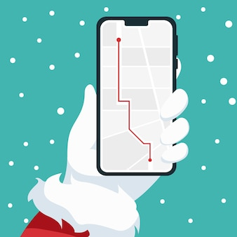 Conception De Téléphone Portable Dans La Main Du Père Noël Vecteur Premium