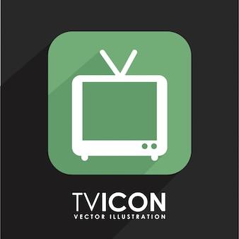 Conception de la télévision au cours de l'illustration vectorielle fond noir