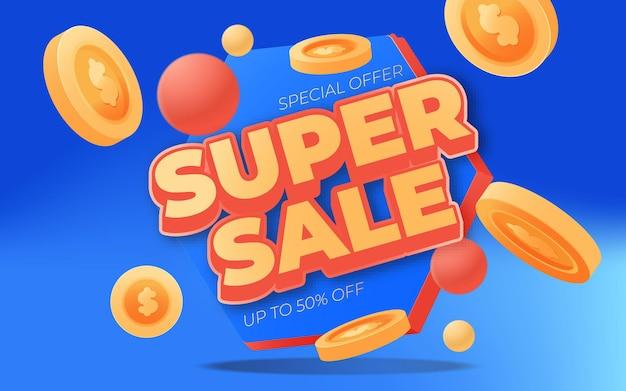 Conception de templete de bannière de super vente pour les promotions médiatiques et la promotion des médias sociaux
