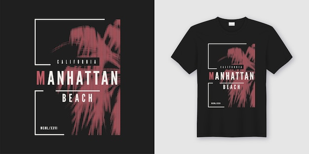Conception tendance de t-shirt et de vêtements de plage de manhattan avec palmier stylisé