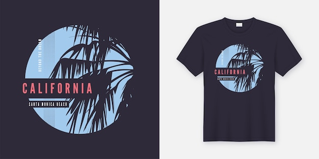 Conception tendance de t-shirt et de vêtements de plage de santa monica avec des palmiers