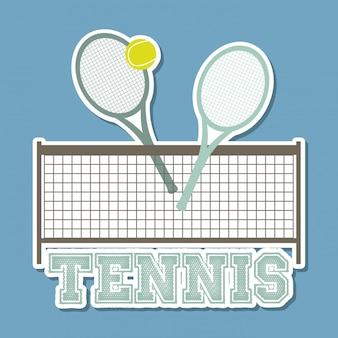 Conception de tennis au cours de l'illustration vectorielle fond bleu