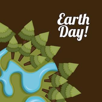 Conception de la terre au cours de l'illustration vectorielle fond marron