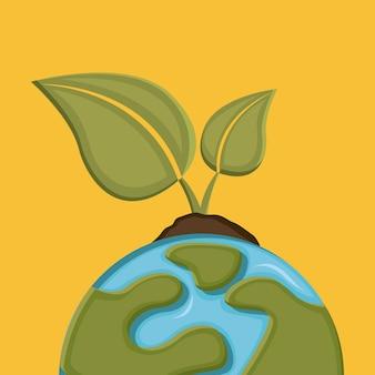 Conception de la terre au cours de l'illustration vectorielle fond orange