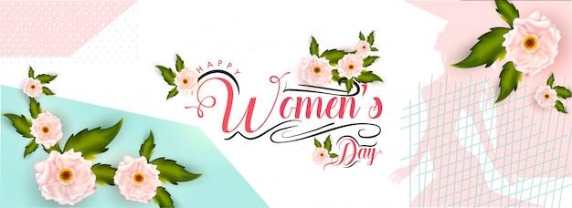 Conception en-tête ou une bannière de la journée des femmes décorée de fleurs.