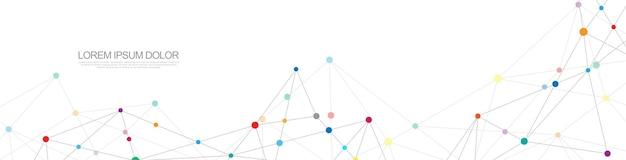Conception d'en-tête ou de bannière de site web avec un arrière-plan géométrique abstrait et des points et des lignes de connexion. connexion réseau mondiale. technologie numérique avec fond de plexus et espace pour votre texte.