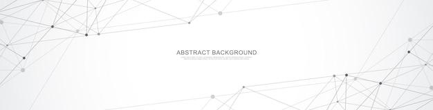 Conception D'en-tête Ou De Bannière De Site Web Avec Fond Géométrique Abstrait Et Points Et Lignes De Connexion. Vecteur Premium