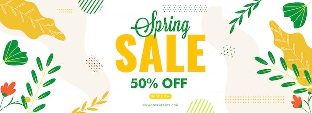 Conception d'en-tête ou de bannière de vente de printemps avec offre de réduction de 50%
