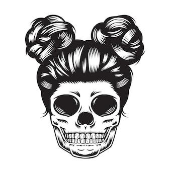 Conception de tête de fille de crâne sur fond blanc. halloween. logos ou icônes de tête de crâne. illustration vectorielle.