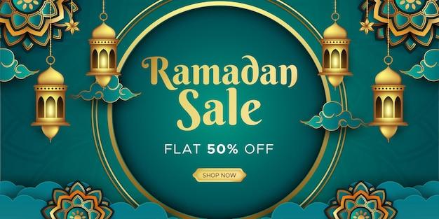 Conception d'en-tête web de bannière de vente de ramadan kareem avec modèle de lanternes complexes suspendues