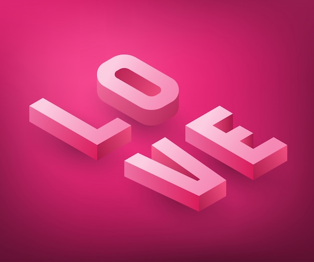 Conception de texte d'amour isométrique.
