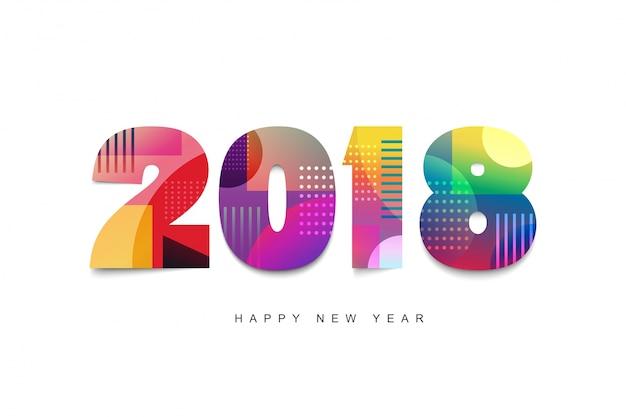 Conception de texte de bonne année 2018. modèle de conception de carte de voeux 2018