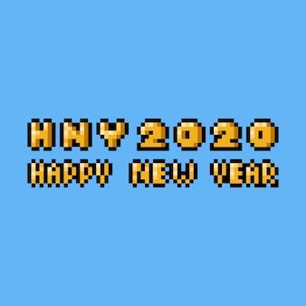 Conception de texte bonne année 2020 pixel art.