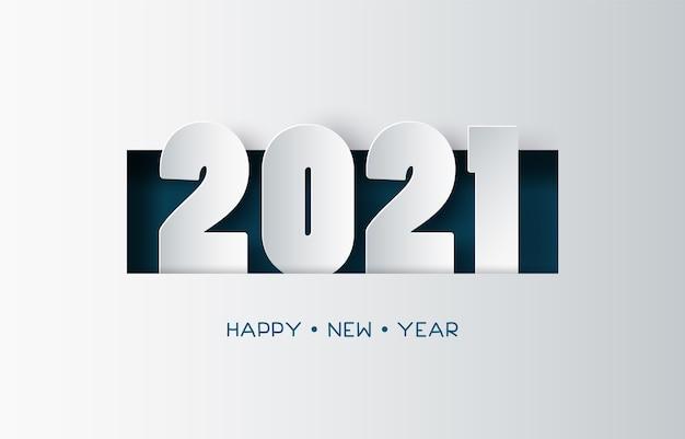 Conception de texte de bonne année avec style papier découpé.