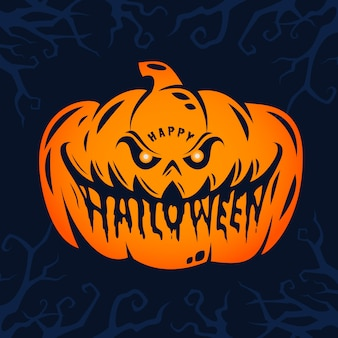 Conception de texte de citrouille d'halloween heureux