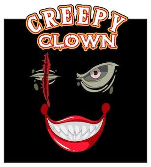 Conception de texte de clown effrayant avec un visage de clown effrayant