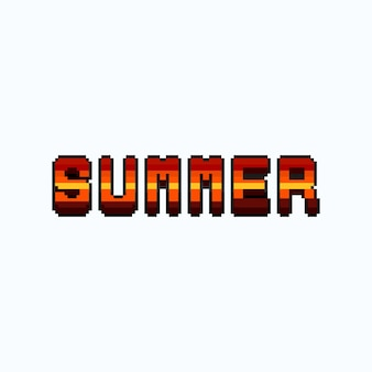 Conception de texte d'été couleur coucher de soleil pixel art