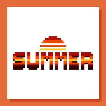 Conception de texte d'été pixel art avec icône soleil