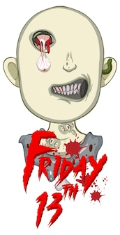 Conception de texte d'halloween du vendredi 13 avec un zombie effrayant