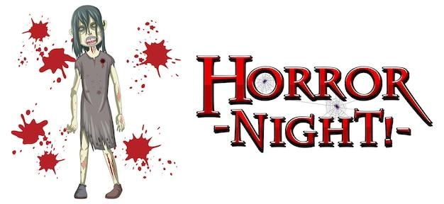 Conception de texte horror night avec zombie effrayant