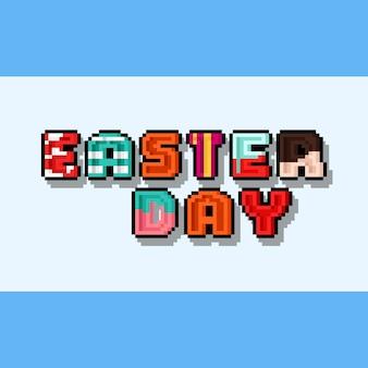 Conception de texte de jour de pâques dessin animé pixel art avec ombre