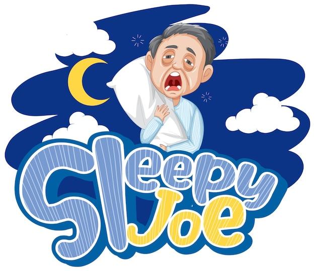 Conception de texte de logo sleepy joe avec un vieil homme endormi