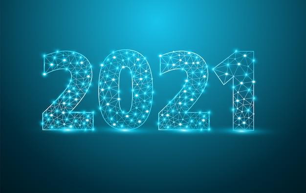 Conception de texte de nouvel an 2021 avec des chiffres de lettres de l'alphabet élégant en maille