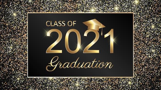 Conception de texte de remise des diplômes de la classe 2021 pour les cartes, les invitations ou la bannière