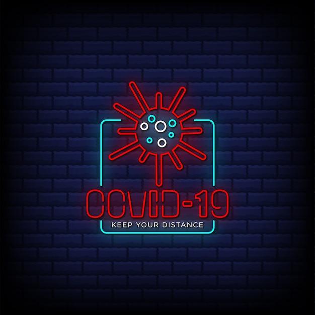 Conception de texte de style de signes rouges néon covid 19 sur fond de briques bleues