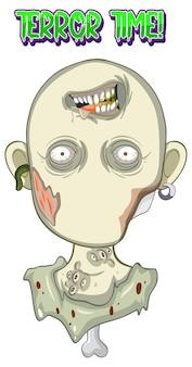 Conception de texte de temps de terreur avec zombie effrayant