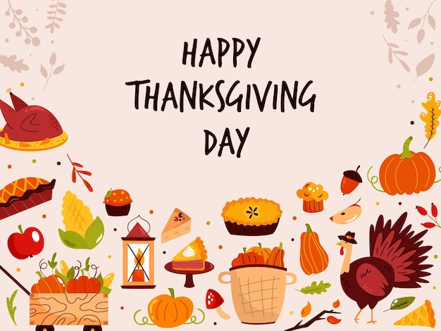 Conception de thanksgiving avec des symboles de vacances turquie, citrouille, tarte. illustration vectorielle