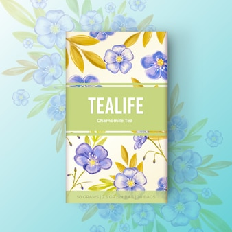 Conception de thé aquarelle avec des fleurs dans des tons bleus